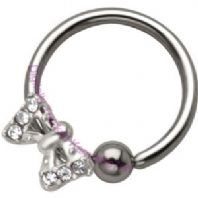 Jewelled Bow Ball closure Ring
